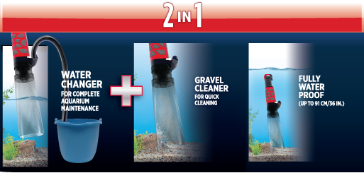 Fluval AquaVac+: Water changer + Gravel Cleaner: Fully watere proof up to 91cm
