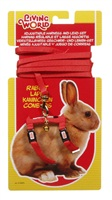 Living World Adjustable Harness and Lead Set  For Rabbits - Red Lead size: 1.2 m (4 ft)