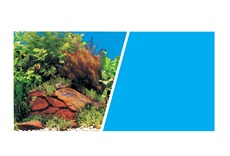 "Marina Double Sided Aquarium Background, Plants with Rocks Scene /Solid Light Blue, 45.7 cm X 7.6 m (18"" X25 ft)"