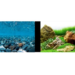 Marina Double-Sided Aquarium Background, Stoney River/Japanese Garden Scenes, 61 cm H x 7.6 m L (24 in H x 25 ft L)